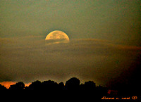 MOON SETTING BEHIND CLOUDS PASTEL